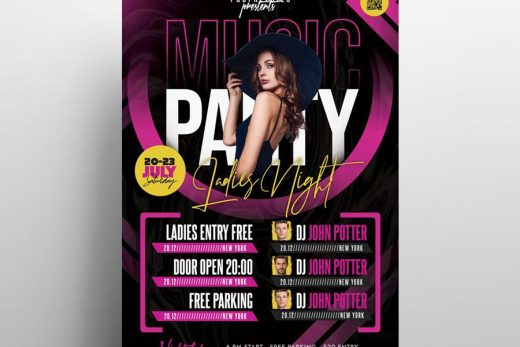 Ladies Club Party Free Flyer Template (PSD)