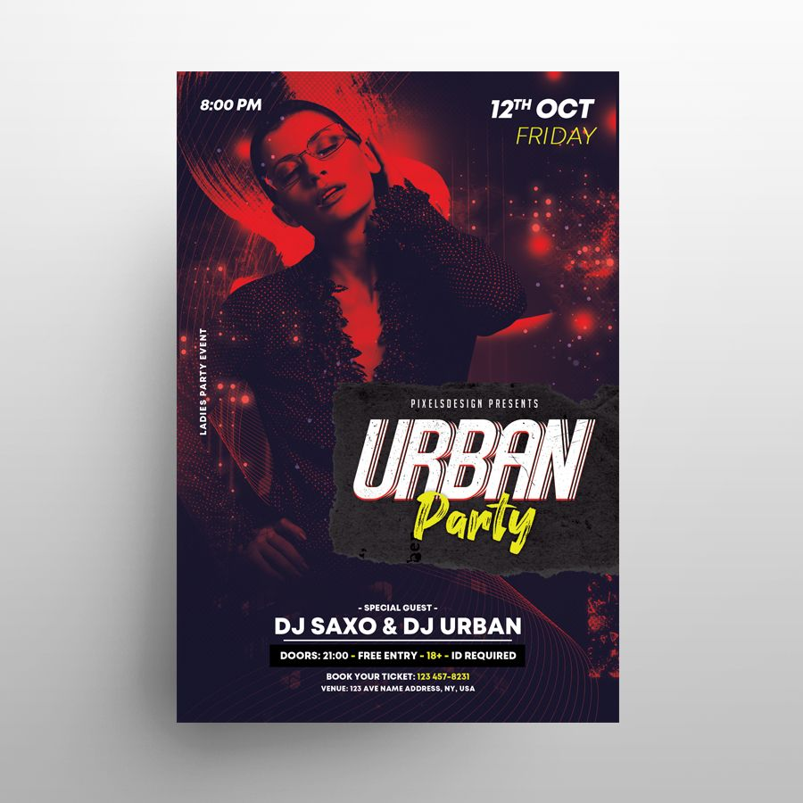 Ladies Party DJ Free Flyer Template (PSD)