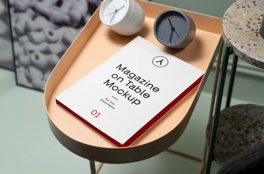 Magazine on Table Free Mockup (PSD)