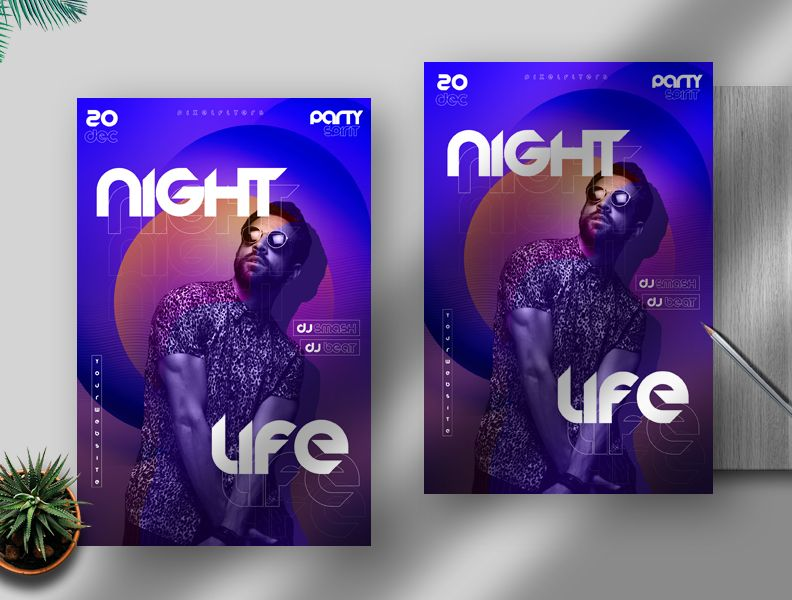 Night Life DJ Free PSD Flyer Template