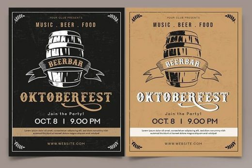 OktoberFest Vintage Party Free Flyer Template (PSD)