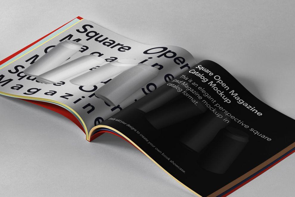 Open Square Magazine Free Mockup