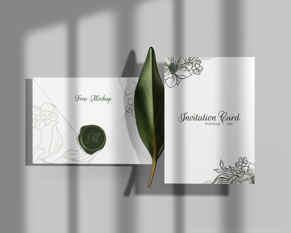 Realistic Invitation with Envelope Free Mockup