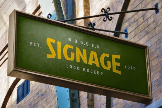 Store Wooden Signage Free Mockup