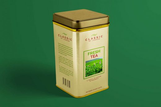 Tin Can Tea Box Free Mockup (PSD)