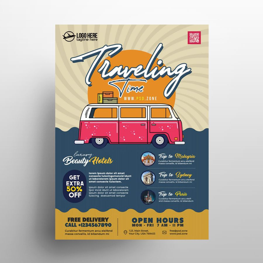 Travel Agency Ad Free Flyer Template (PSD)