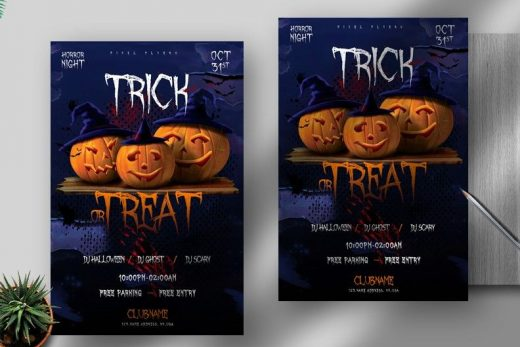 Trick Or Treat Party Halloween Free Flyer Template (PSD)