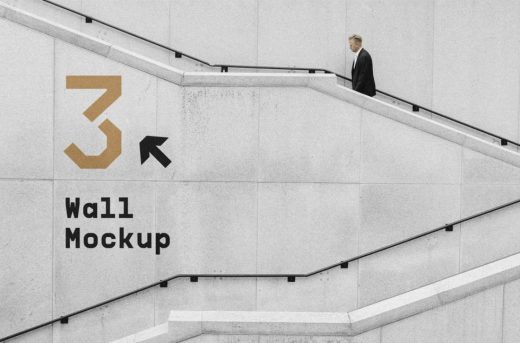 Wall with Stairs Free Mockup (PSD)
