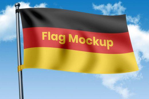 Waving Country Flag Free Mockup