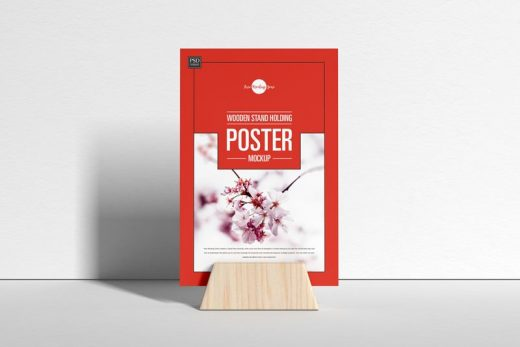 Wooden Stand Poster Free Mockup