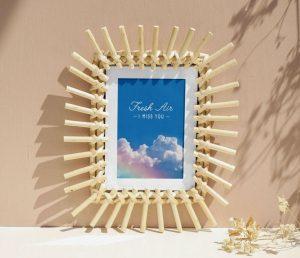 Wooden Sticks Photo Frame Mockup