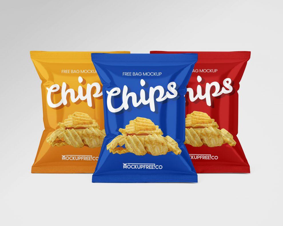 3 Chips Bag Free Mockups