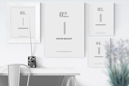 4 Posters Frames Free Mockup