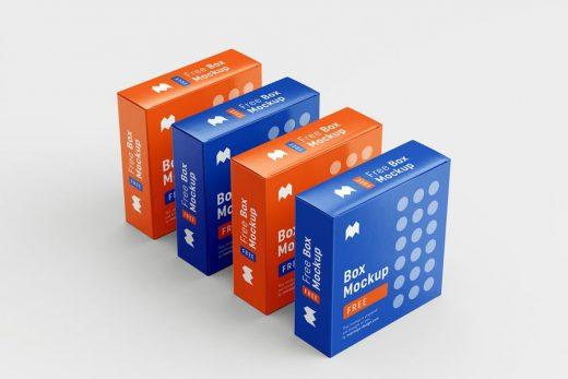 6 Box Packaging Free Mockup