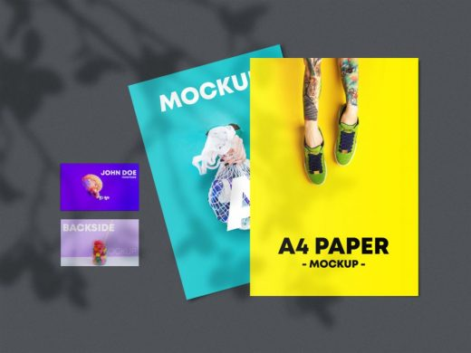 A4 Paper with Business Cards Free Mockup
