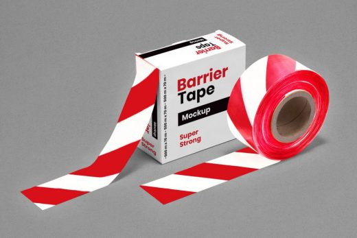 Barrier Barricade Tape Box Free Mockup