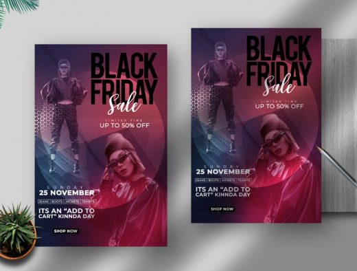 Black Friday Fashion & Apparel Free Flyer Template (PSD)