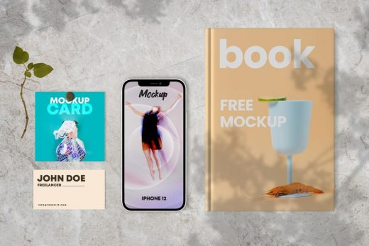 Book & Cards with iPhone 12 Free Mockup