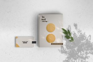 Book Cover & Business Card Free Mockup