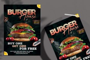 Burger House Ad Free Menu / Flyer Template (PSD)