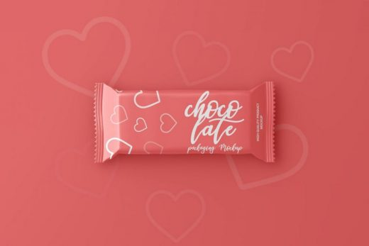 Chocolate Candy Bar Packaging Free Mockup