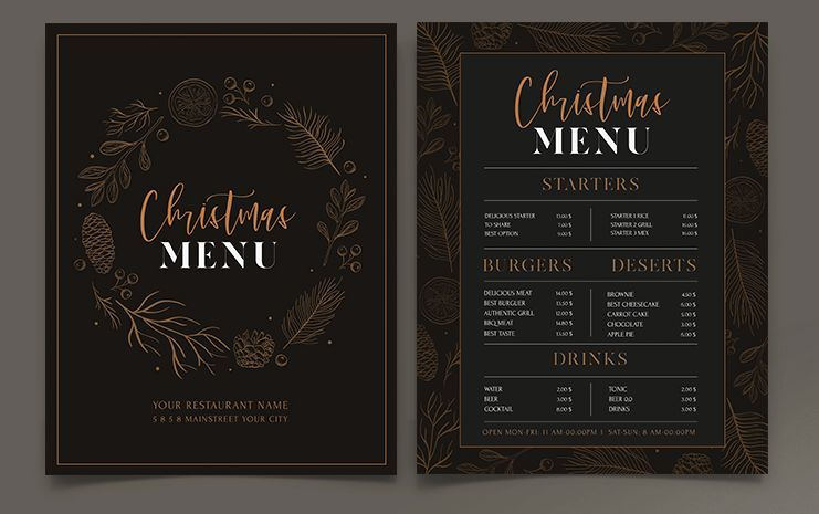 Christmas Restaurant Menu Free PSD Template