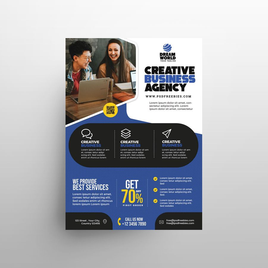 Creative Agency Business Free Flyer Template (PSD)