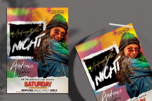 DJ Beat Party Free Flyer Template (PSD)