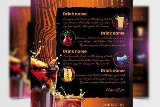 Drink Menu Restaurant & Bars Free Template (PSD)