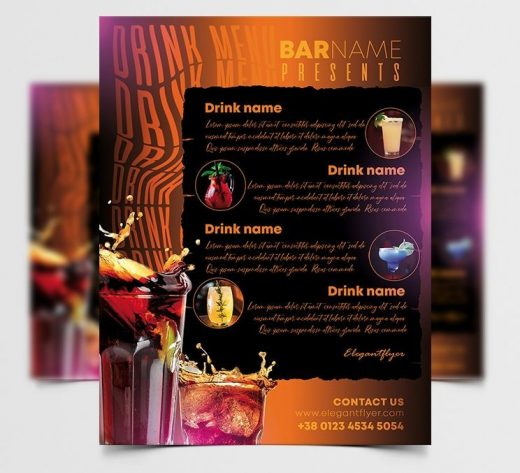 Drink Menu Restaurant & Bars Free Template (PSD)