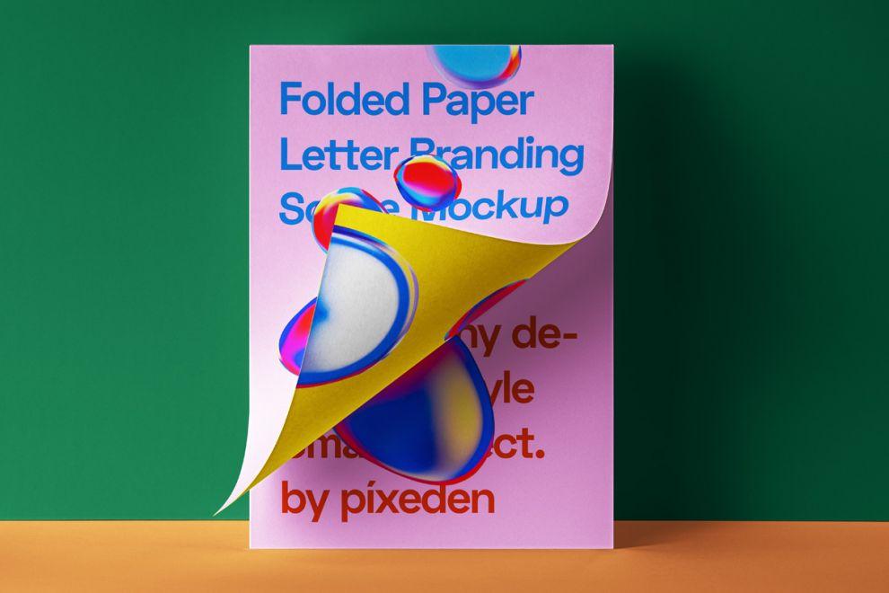 Folded Letter Paper Free Mockup