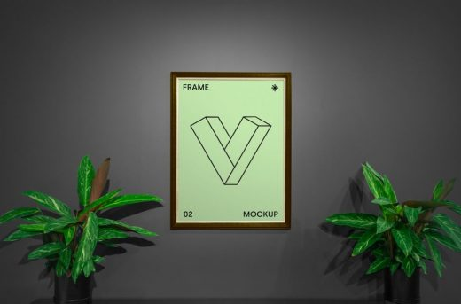 Framed Poster with Plants Free Mockup