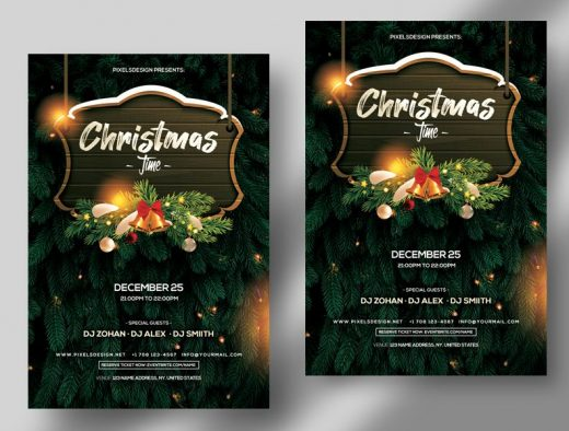 Free 2020 Christmas Time Flyer Card Template (PSD)