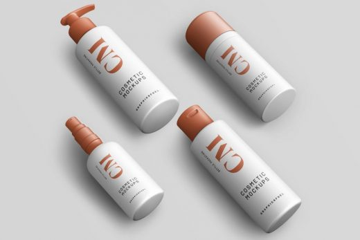 Free 5 Cosmetic Product Bottle Mockups