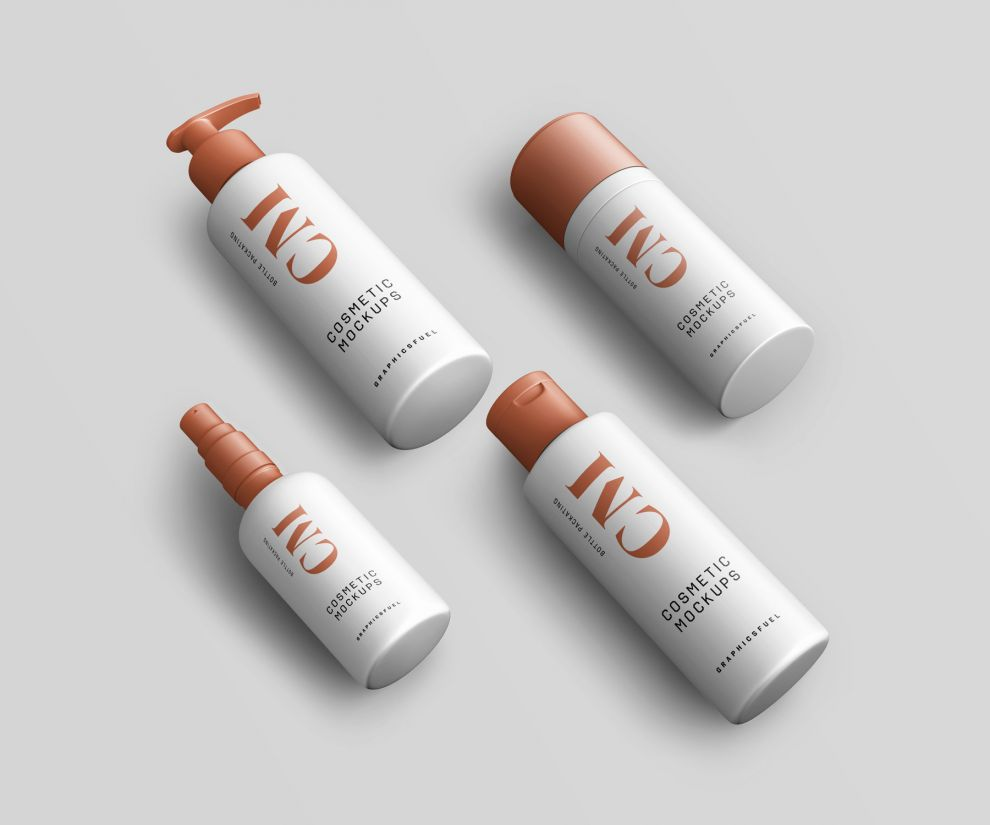Free 5 Cosmetic Product Bottle Mockups