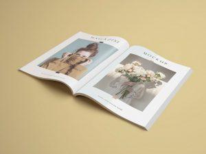 Free Opened A4 Magazine Mockup