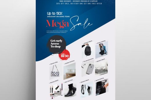 Free Products Super Sale Flyer Template (PSD)