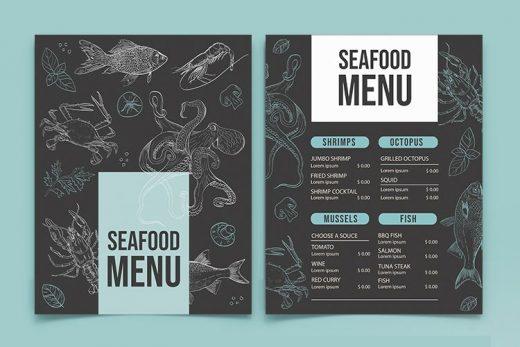 Free Seafood Menu Template (PSD)
