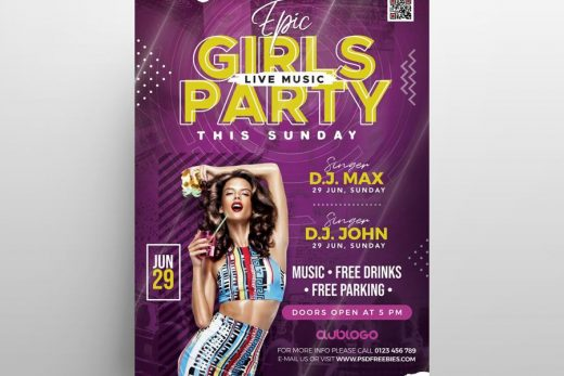 Girls Vibe Party Free Flyer Template (PSD)