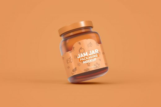 Glass Jam Jar Packaging Free Mockup