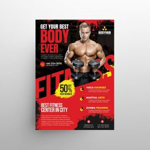 Gym Fitness Promotion Free Flyer Template (PSD)
