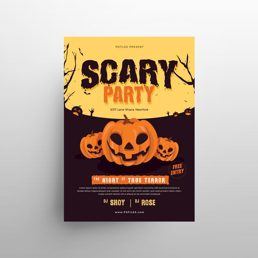Halloween Party Minimal Free Flyer Template (PSD)