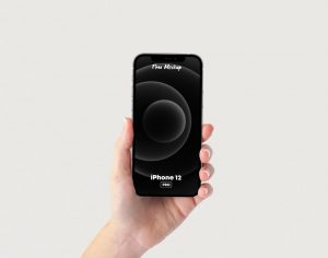 Holding iPhone 12 Pro in Hand Free Mockup
