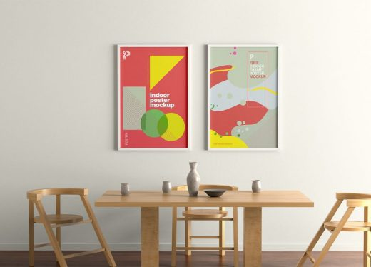 Indoor Poster Frames Free Mockup