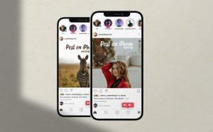Instagram UI in iPhone 12 Free Mockup (PSD)