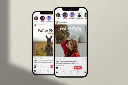 Instagram UI in iPhone 12 Free Mockup (PSD)