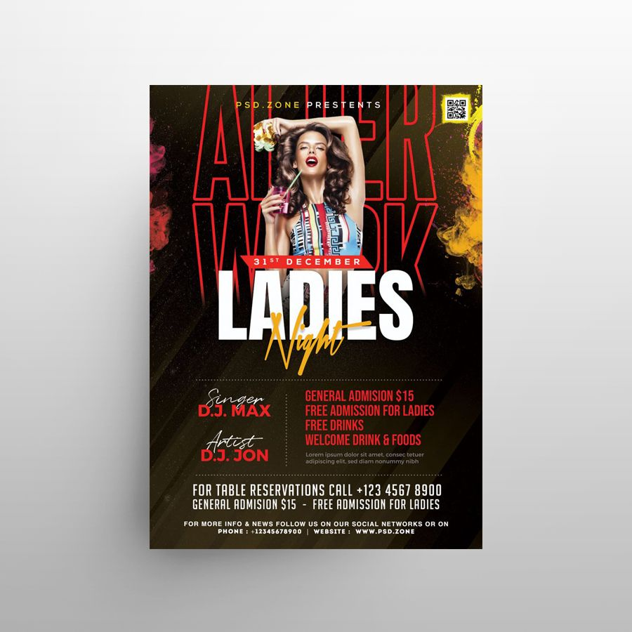 Ladies Party Night Free Flyer Template (PSD)