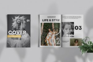 Magazine Cover & Papers Free Mockup