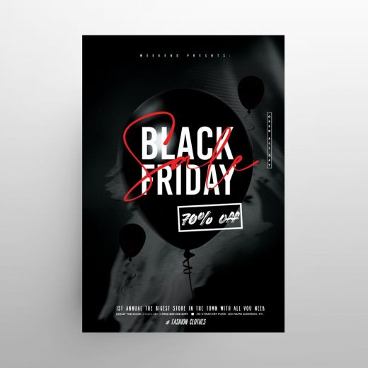 Minimal Black Friday 2020 Free Flyer Template (PSD)