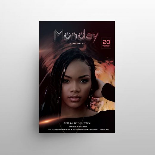 Monday Music Party Free Flyer Template (PSD)